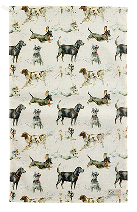 Catch Dog Cotton Linen Tea Towel 50x70cm