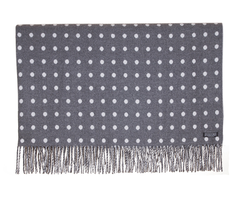Charcoal Spot Lambswool Throw 140x180cm