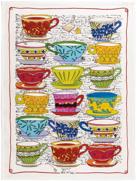Tea Cups Linen Tea Towel 50x70cm