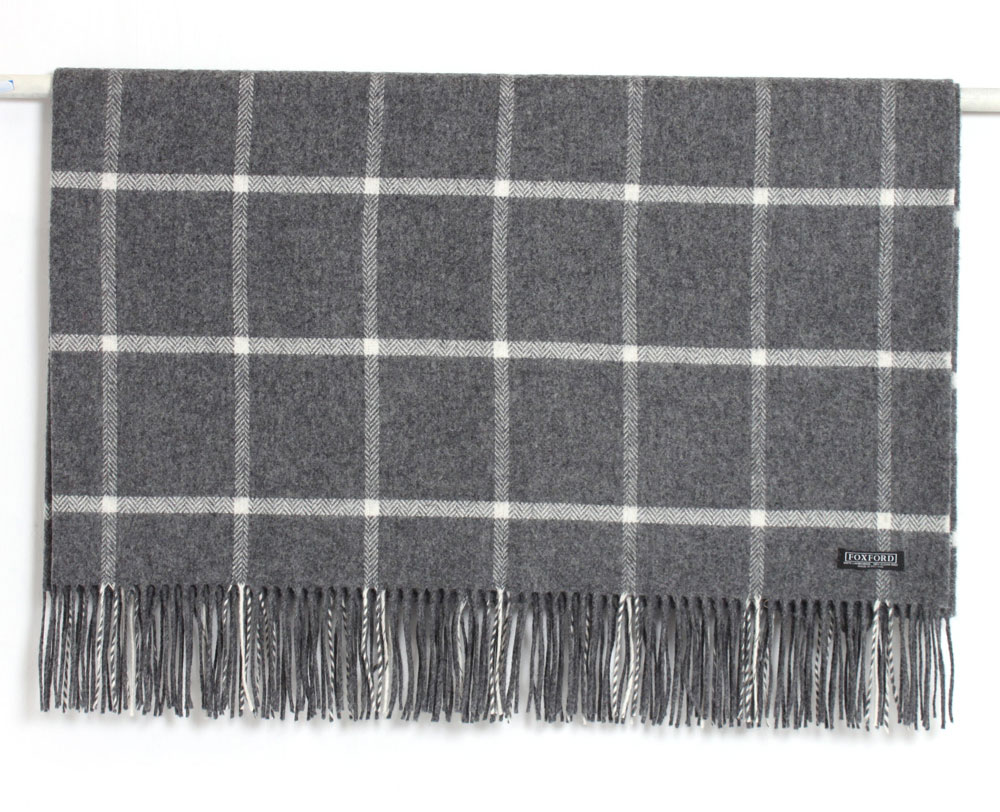 Charcoal/White Lambswool Throw 140x180cm
