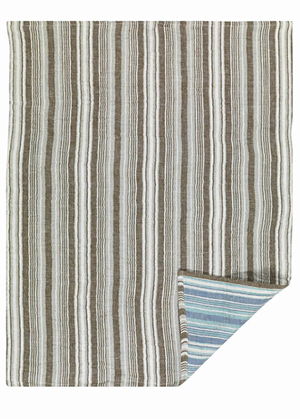 Giano Brown Blue Linen Tea Towel 50x70cm