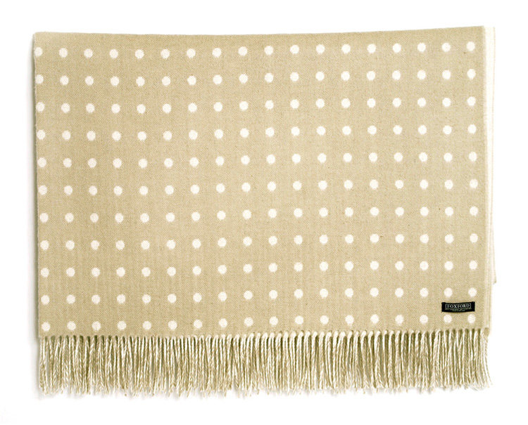 Taupe Spot Lambswool Throw 140x180cm