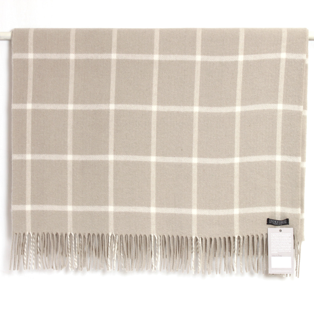 Taupe/White Check Lambswool Throw 140x180cm