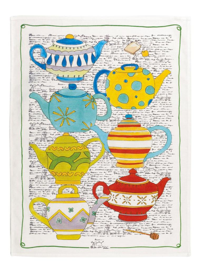 Tea Pots Linen Tea Towel 50x70cm