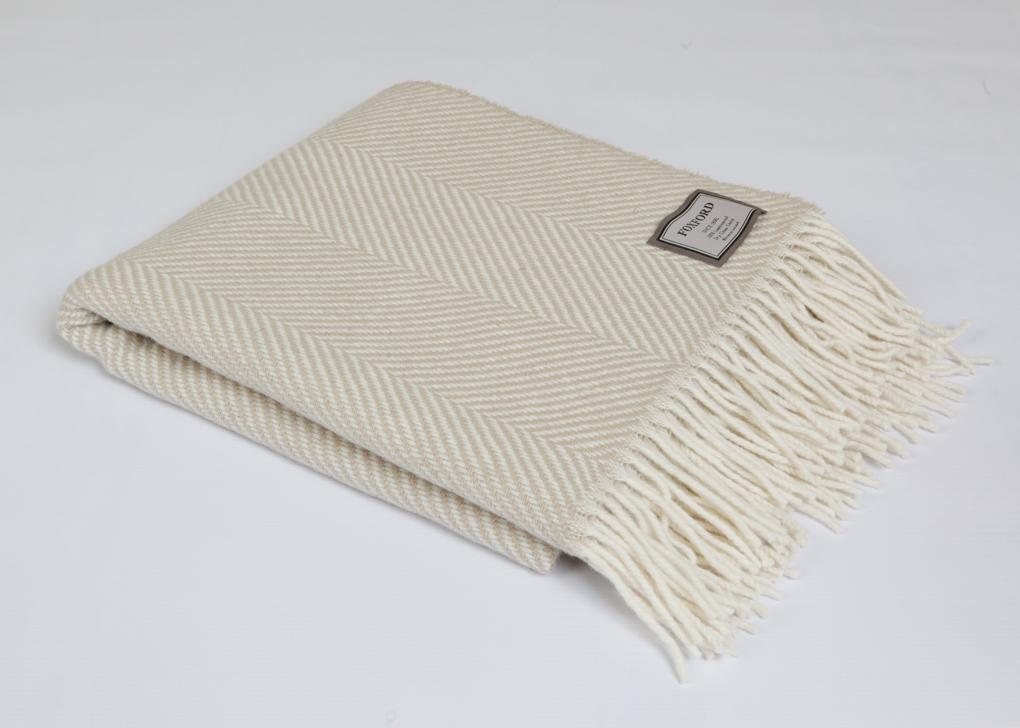 Camel Herringbone Wool Throw 140x180cm