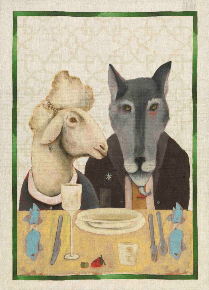 Sheep & Wolf Linen Tea Towel 50x70cm
