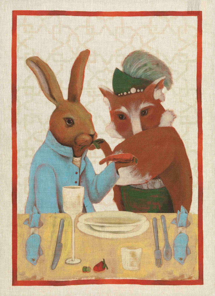 Rabbit & Fox Linen Tea Towel 50x70cm