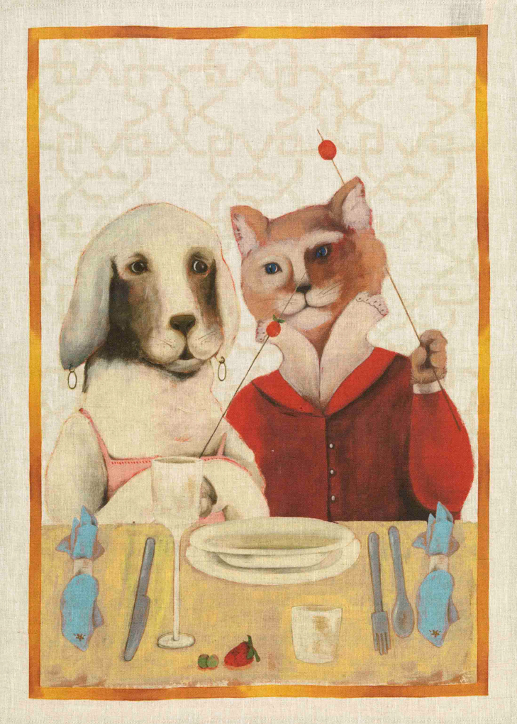 Dog & Cat Linen Tea Towel 50x70cm