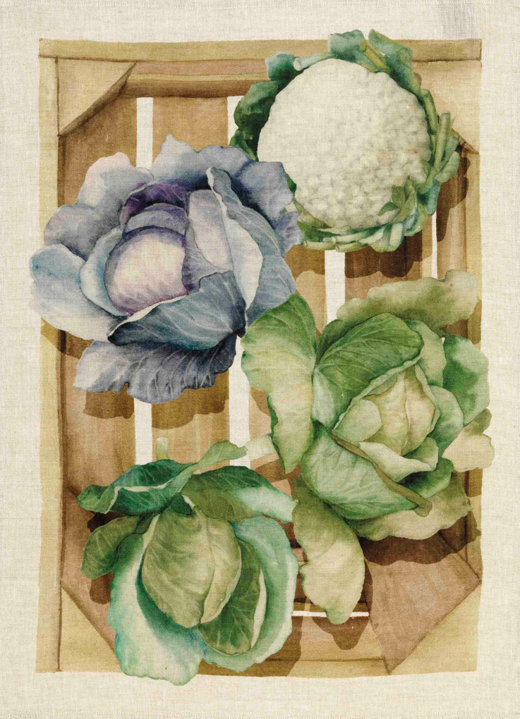 Cabbages Linen Tea Towel 50x70cm