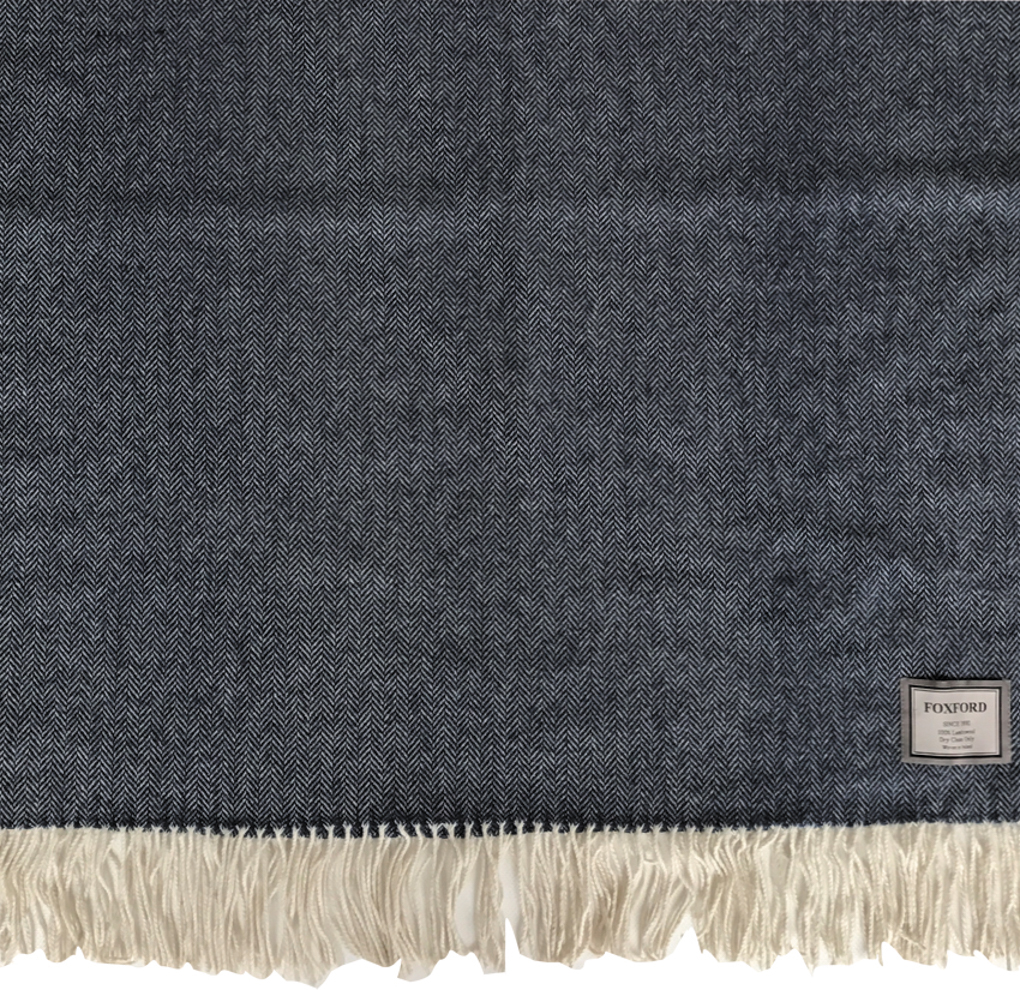 Navy Lambswool Throw 140x180cm