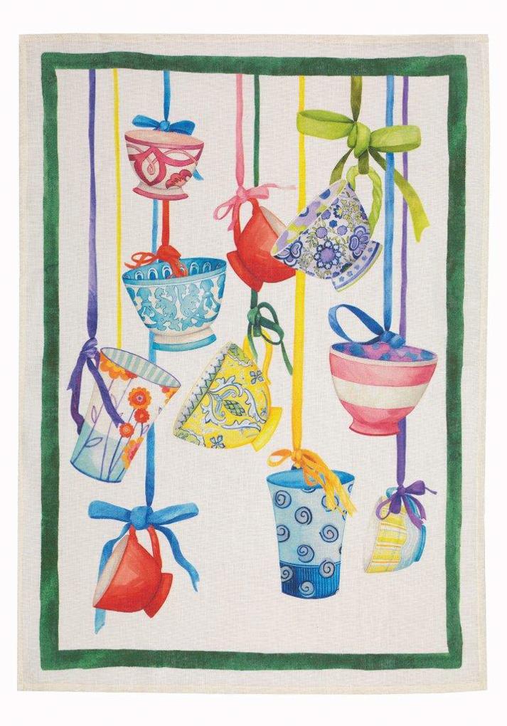 Bric Brac Green Linen Tea Towel 50x70cm