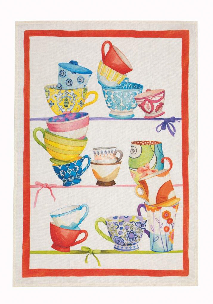 Bric Brac Red Linen Tea Towel 50x70cm