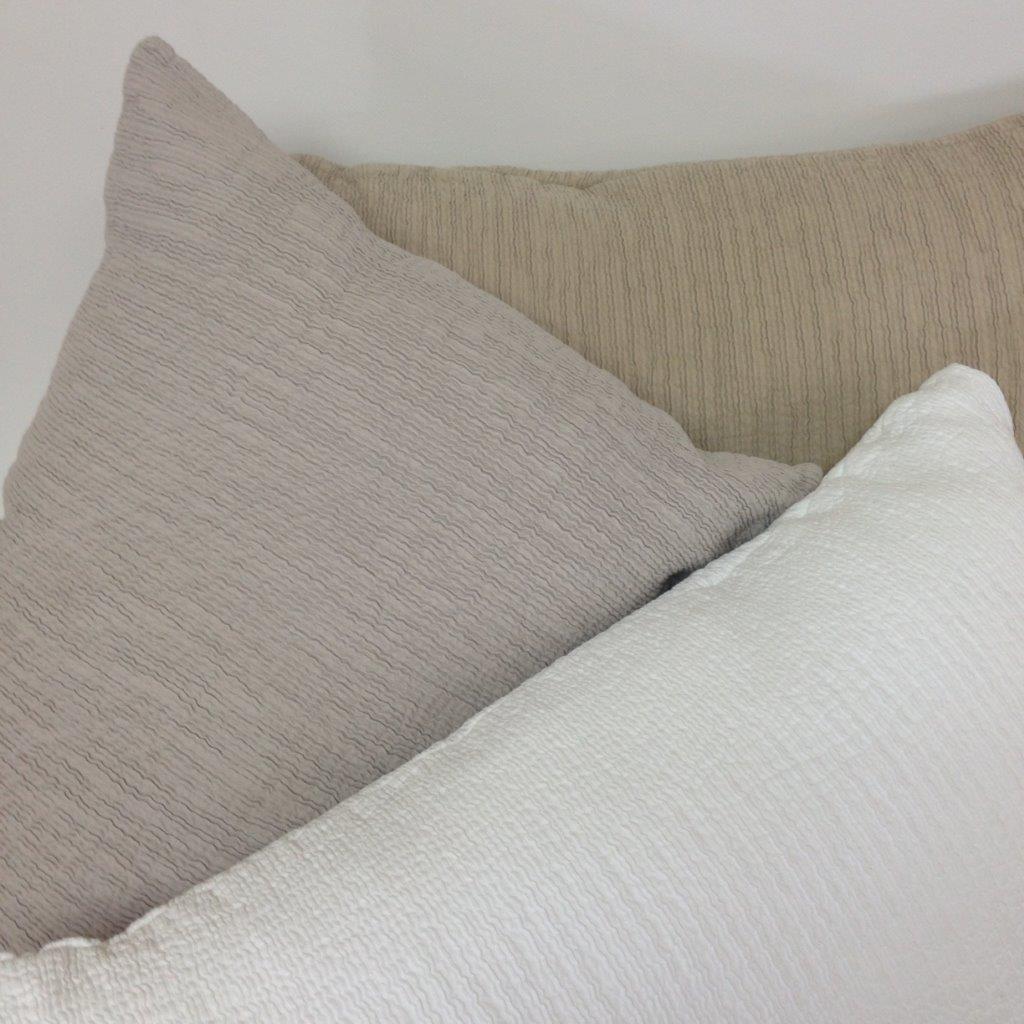 Armani Egyptian Cotton Bedspread. Colours White, Silver & Linen. Sizes Queen, King & Super King