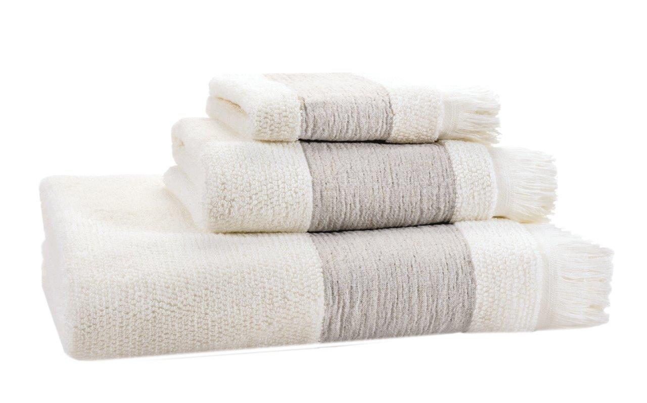 Como Ivory Bath Linen 95% Egyptian Cotton 5 % Linen. Face Cloth, Finger Towel, Guest Towel, Bath Towel, Bath Sheet