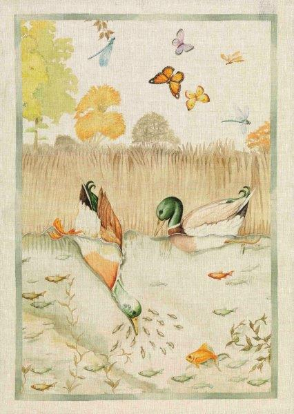 Diving Ducks Linen Tea Towel 50x70cm