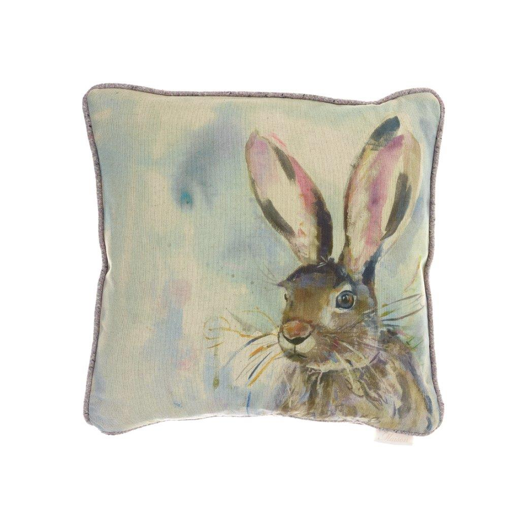 Harriet Hare Linen Cushion 43x43cm