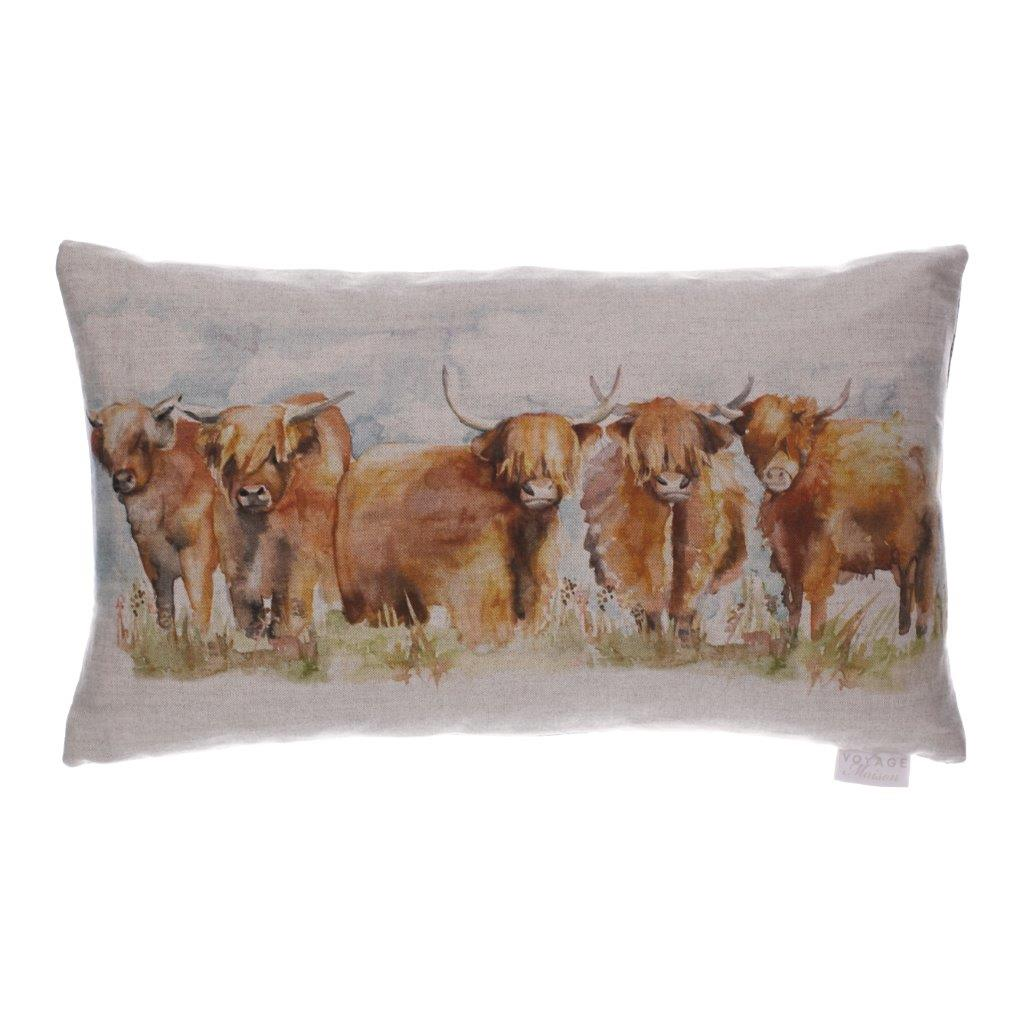 Highland Cattle Linen Cushion 35x60cm