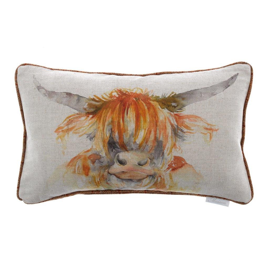 Highland Cow Linen Cushion 30x50cm