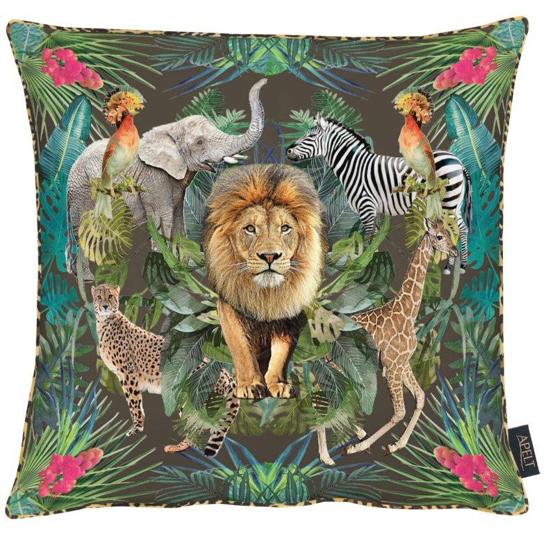 Lion Black Cotton Cushion 46x46cm