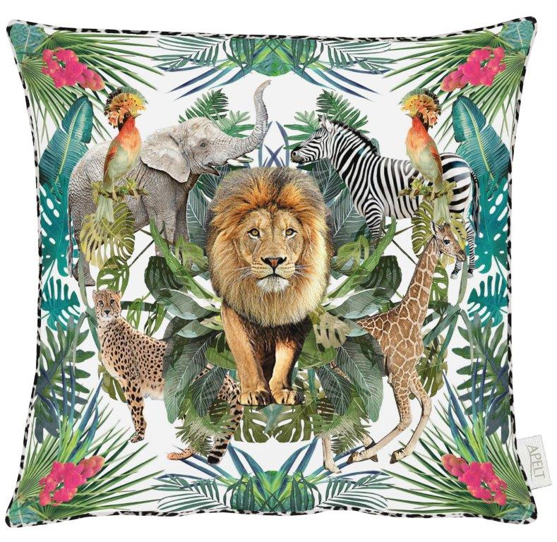 Lion White Cotton Cushion 46x46cm