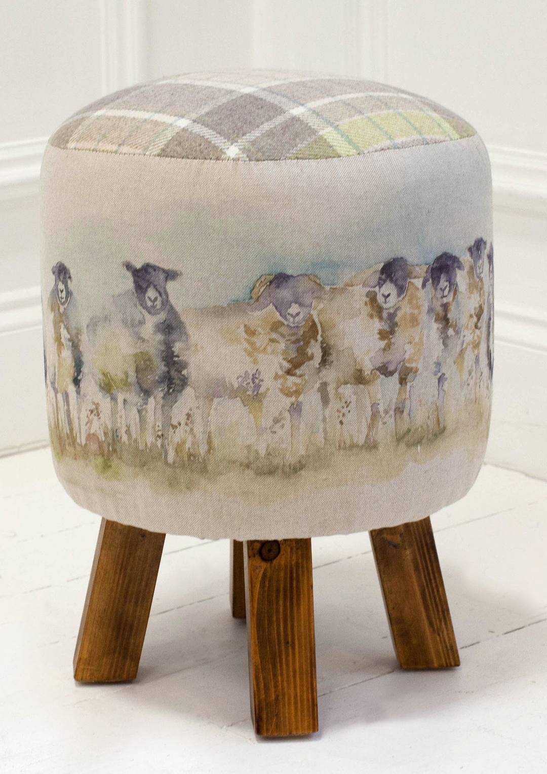 Come By Sheep Linen Stool 25cmDiax45cmH