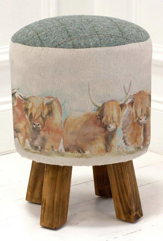 Highland Cattle Linen Stool 25cm Dia x 45cmH