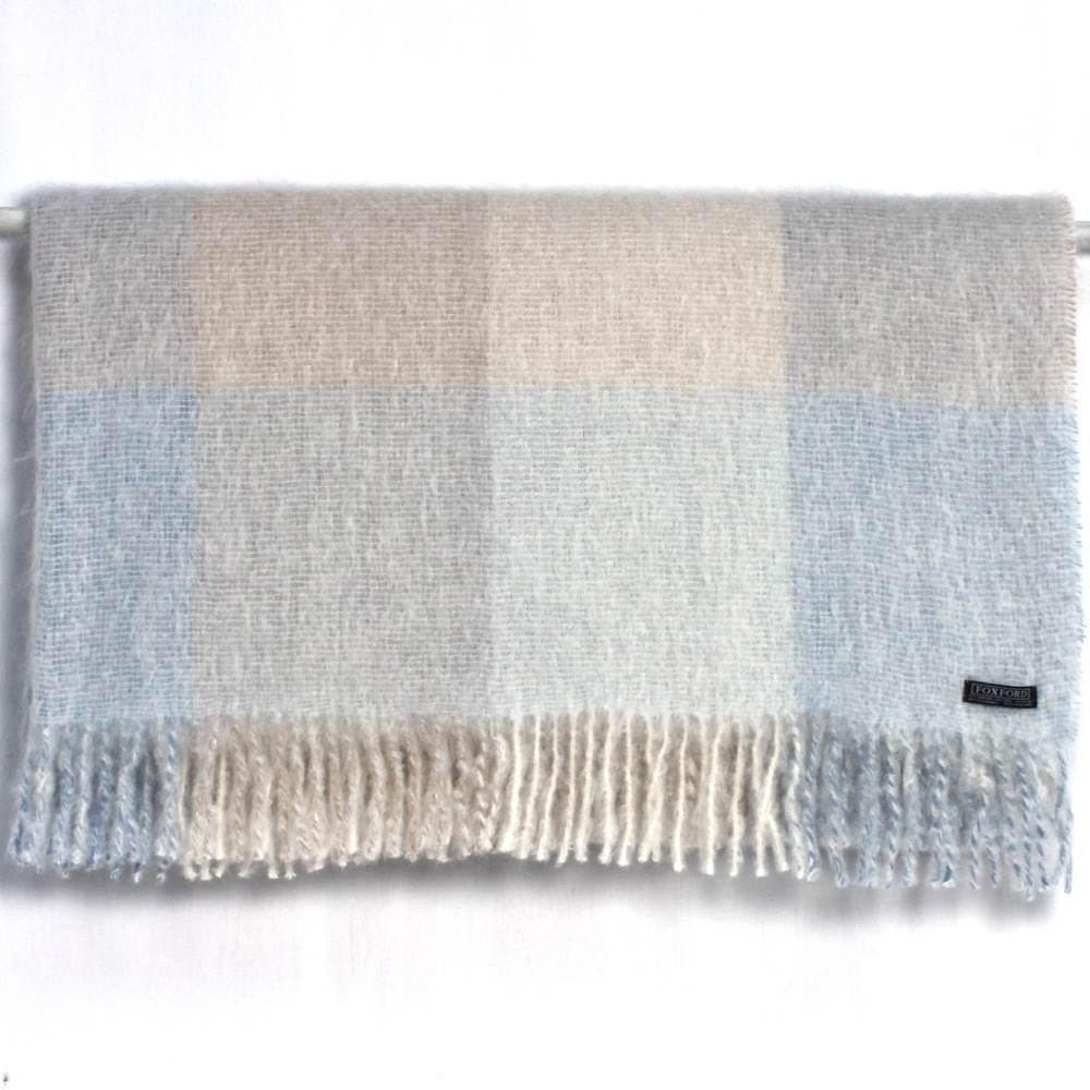 Blue/Taupe Mohair Wool Throw 147x179cm