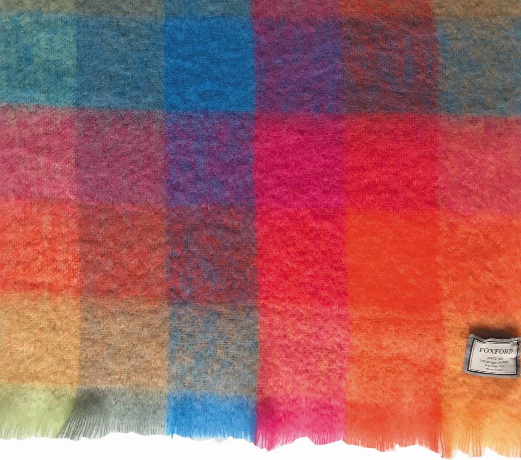 Brights Check Mohair Wool Throw 147x179cm