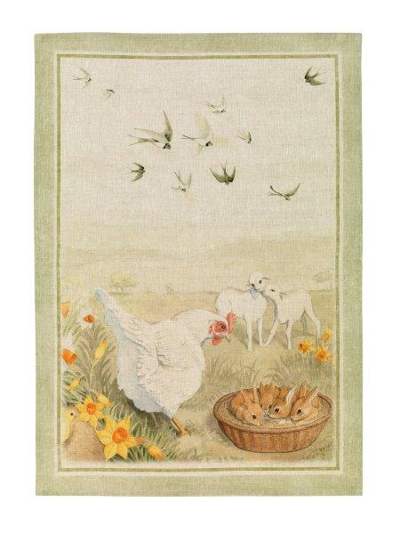 Pet Farm Green Linen Tea Towel 50x70cm