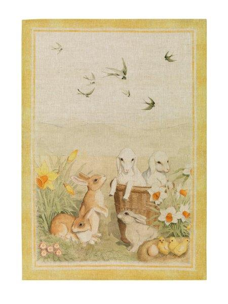 Pet Farm Yellow Linen Tea Towel 50x70cm