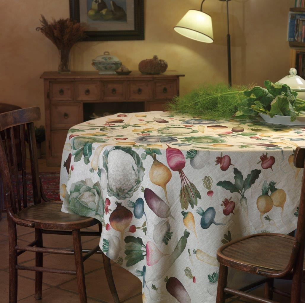 Potager Linen Tablecloth Sizes 170x170cm, 160x230cm, 170x270cm, 170x310cm, 170cm Round