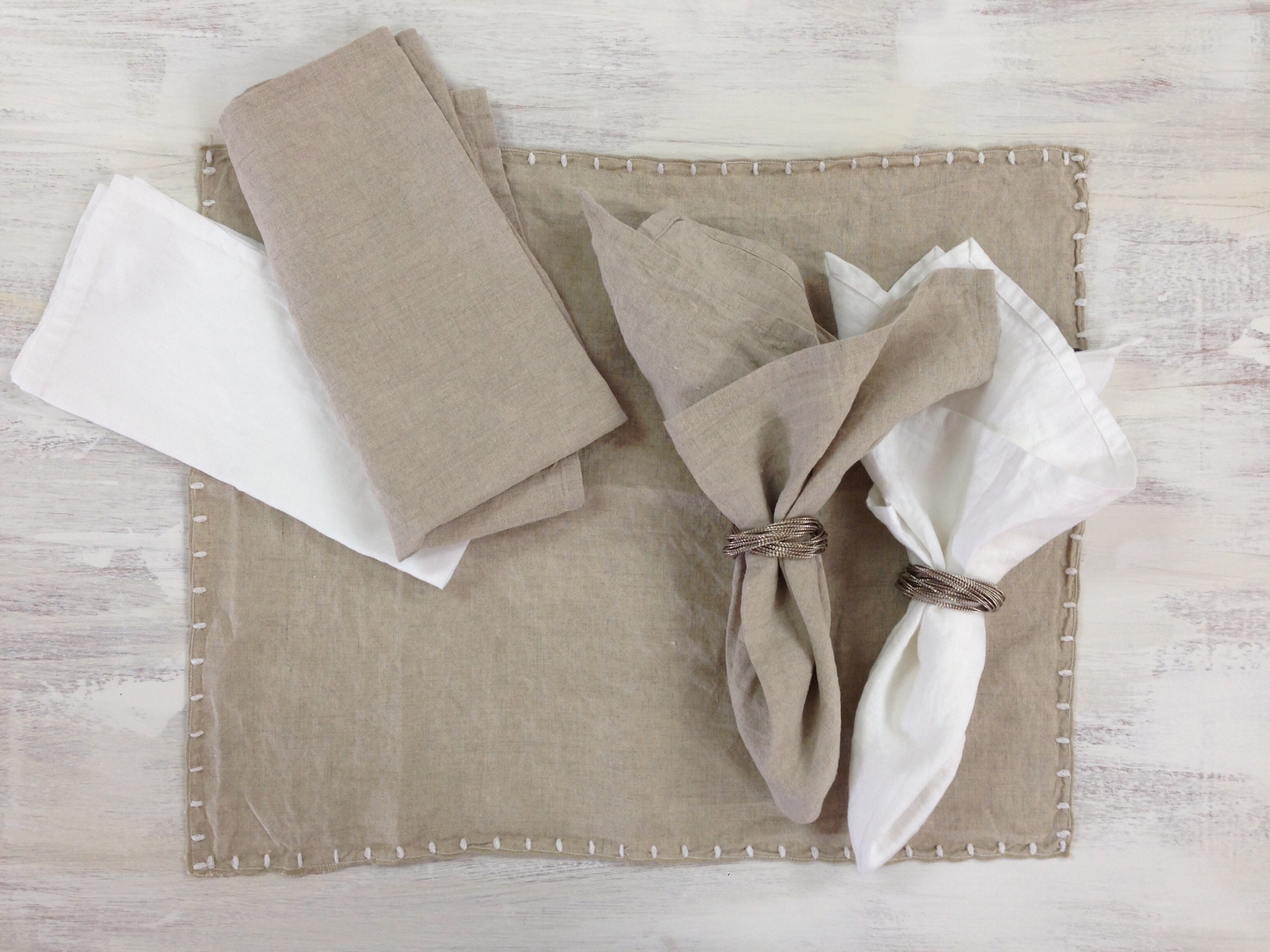Stonewash Linen Napkins 45x45cm Colours Natural and White