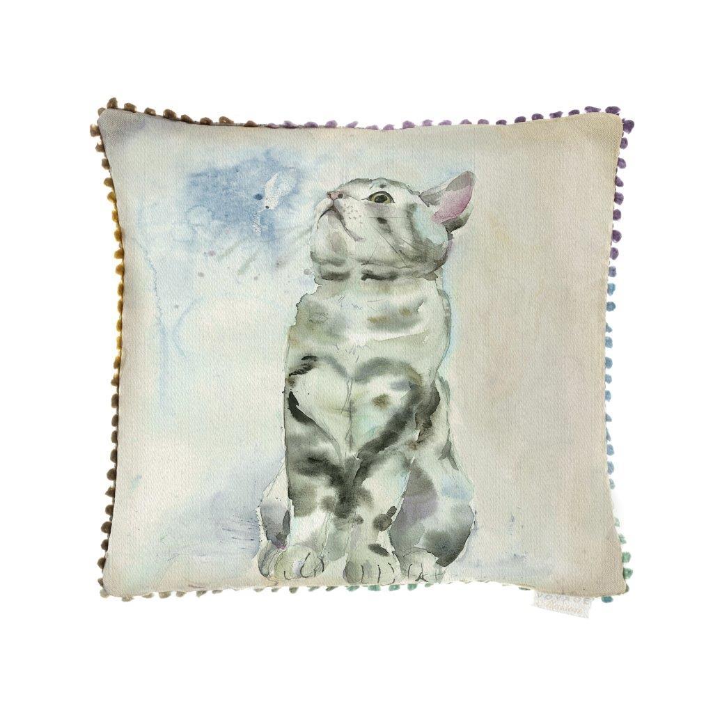 Tabby Cat Linen Cushion 43x43cm