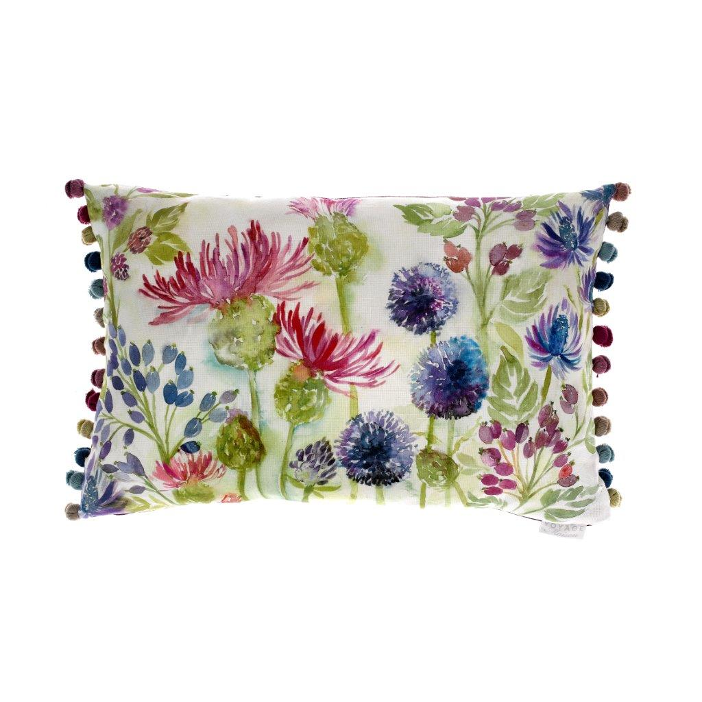 Thistles White Linen Cushion 40x60cm