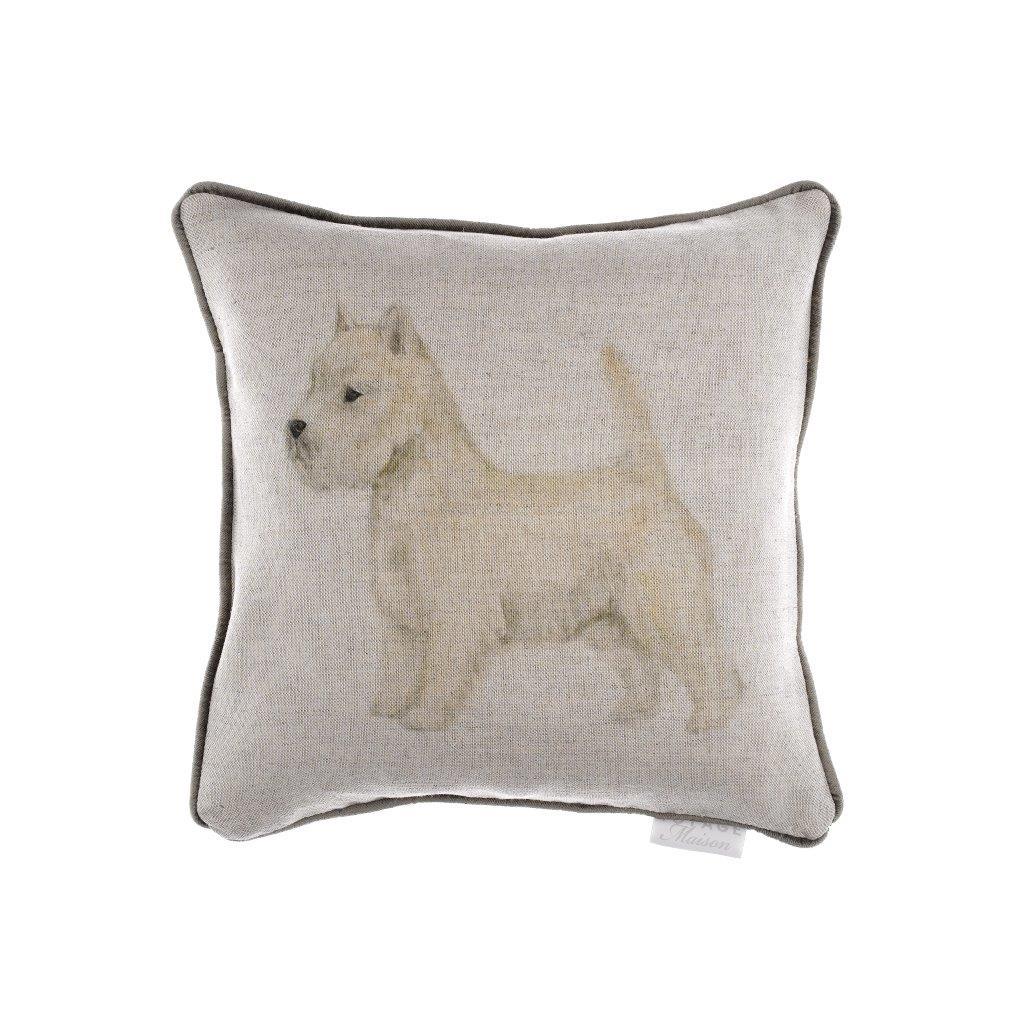 Westie Linen Cushion 35x35cm