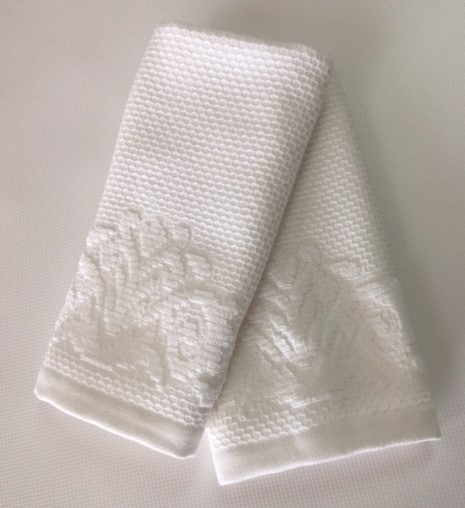 Florence White Finger Towels Waffle onside Terry other side
