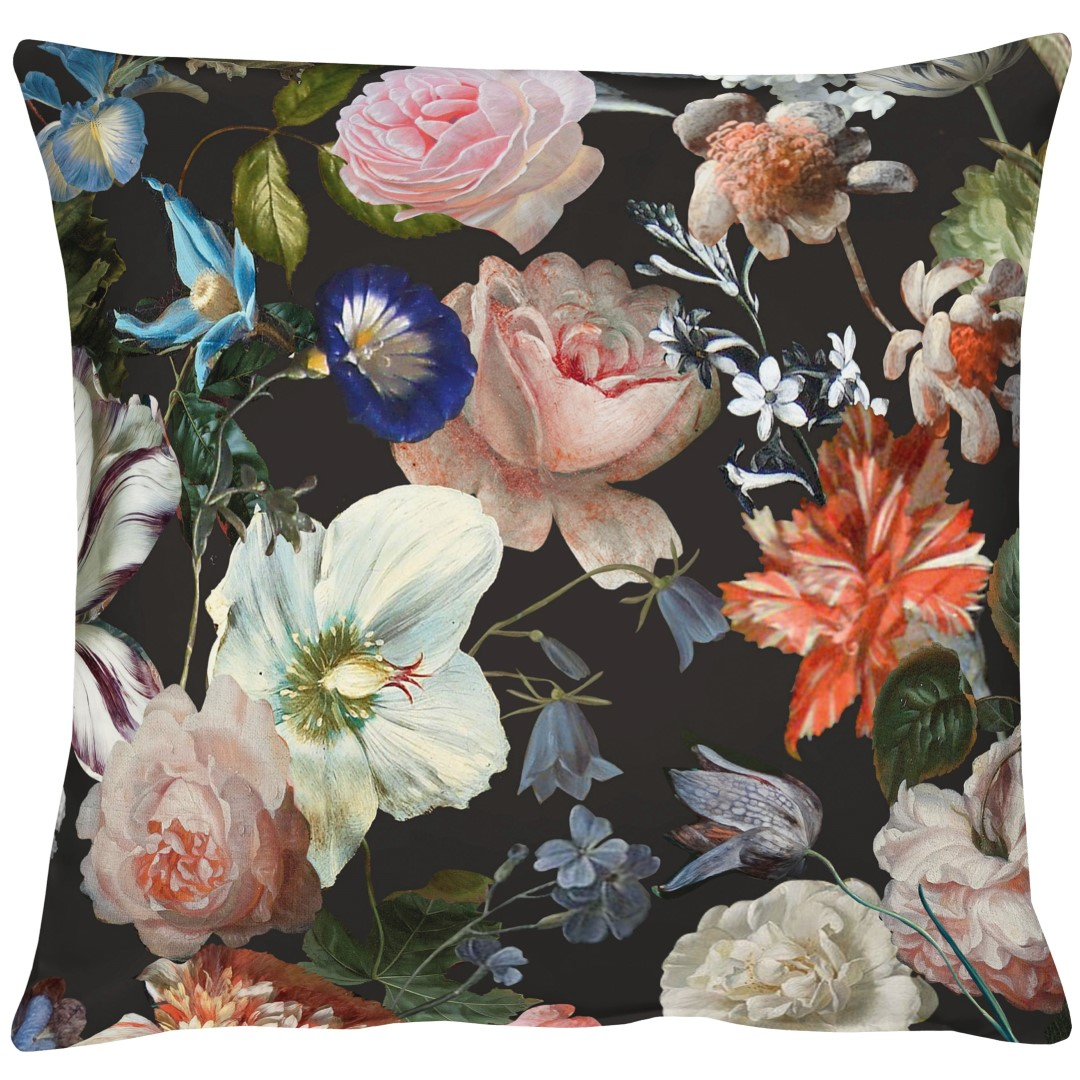 Merian Black Cotton Cushion 49x49cm