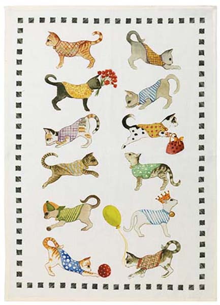 Best Friends Cat Linen Tea Towel 50x70cm