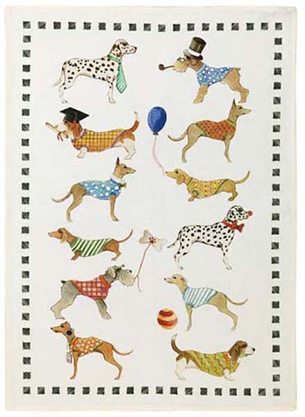Best Friends Dog Linen Tea Towel 50x70cm