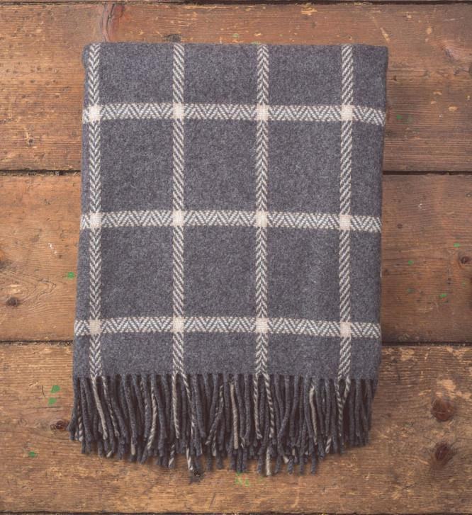 Charcoal Cashmere/Wool Check Throw 150x180cm