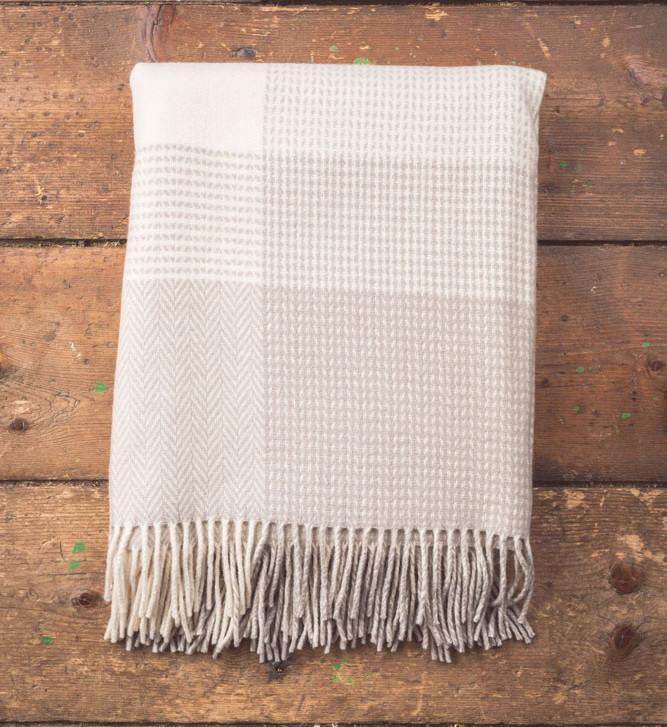 Camel Cashmere/Wool Check Throw 150x180cm