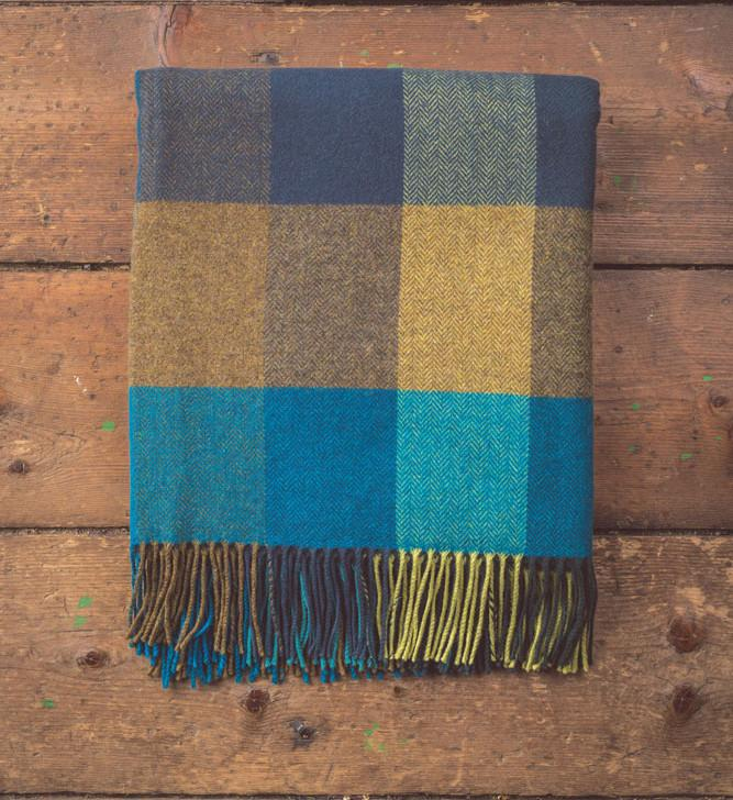 Lambswool Check Blue/Citrus Throw 140x180cm