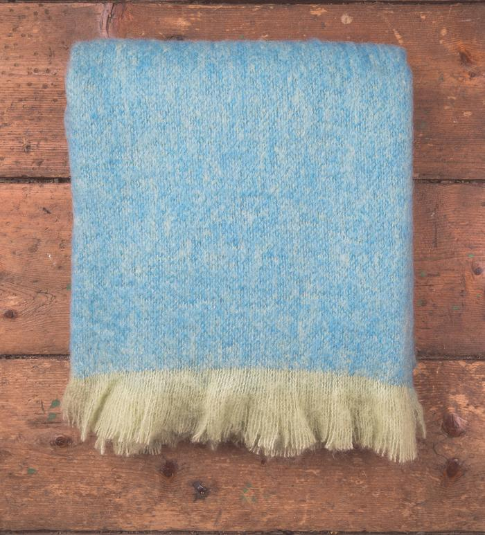 Lime/Mayo Blue Mohair/Wool Throw 140x170cm