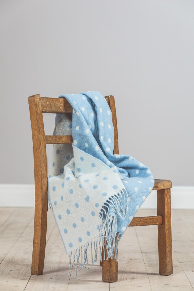 Baby Blue Spot Lambswool Throw 75x100cm