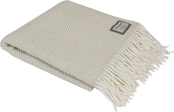 Camel Herringbone Wool Throw 140x180cm