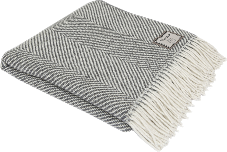 Charcoal Herringbone Wool Throw 140x180cm