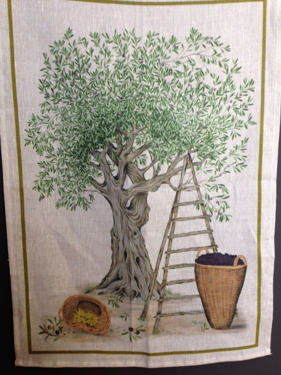 Olive Tree Green Linen Tea Towel 50x70cm