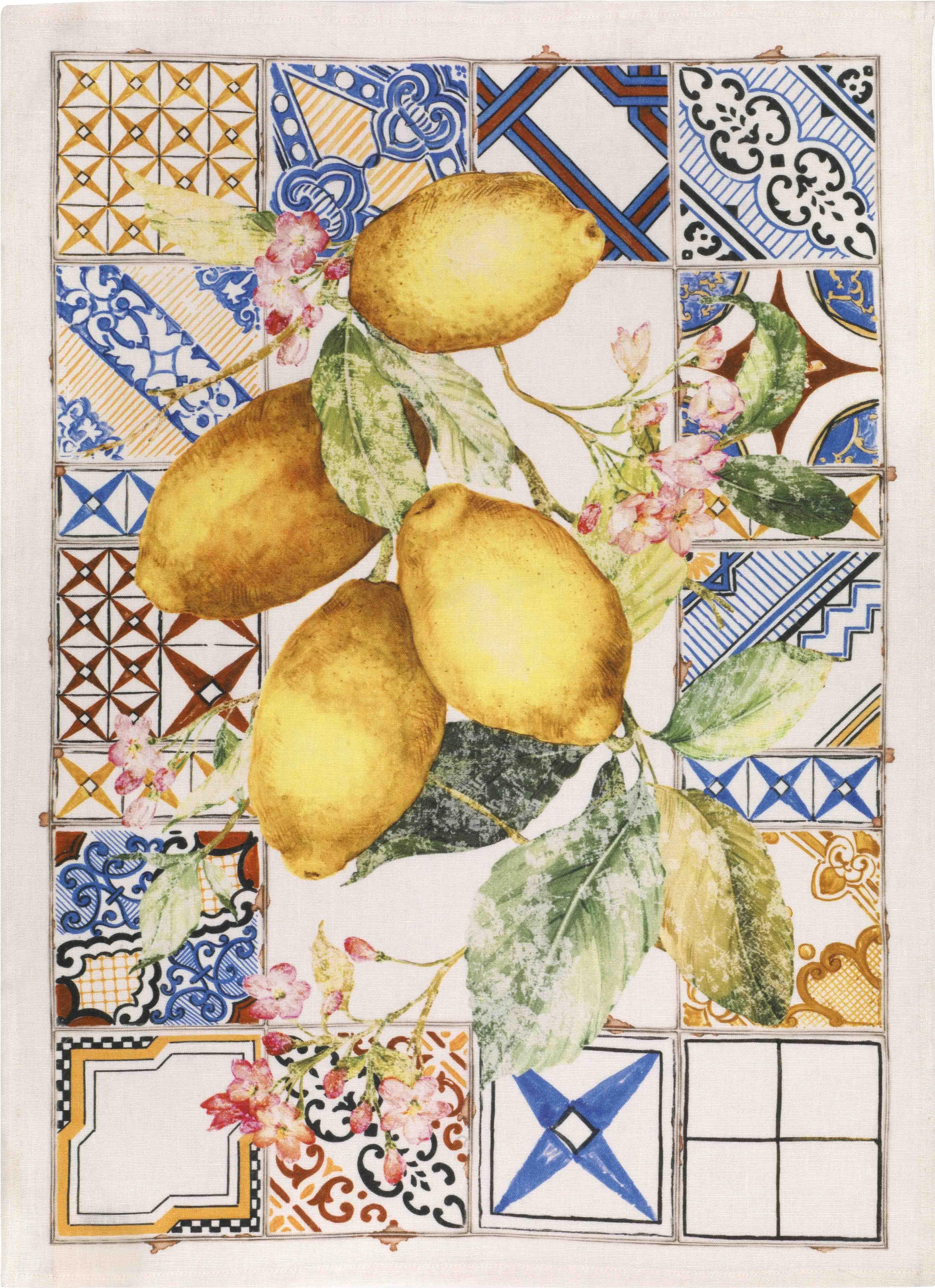 Tiles Lemons Linen Tea Towel 50x70cm