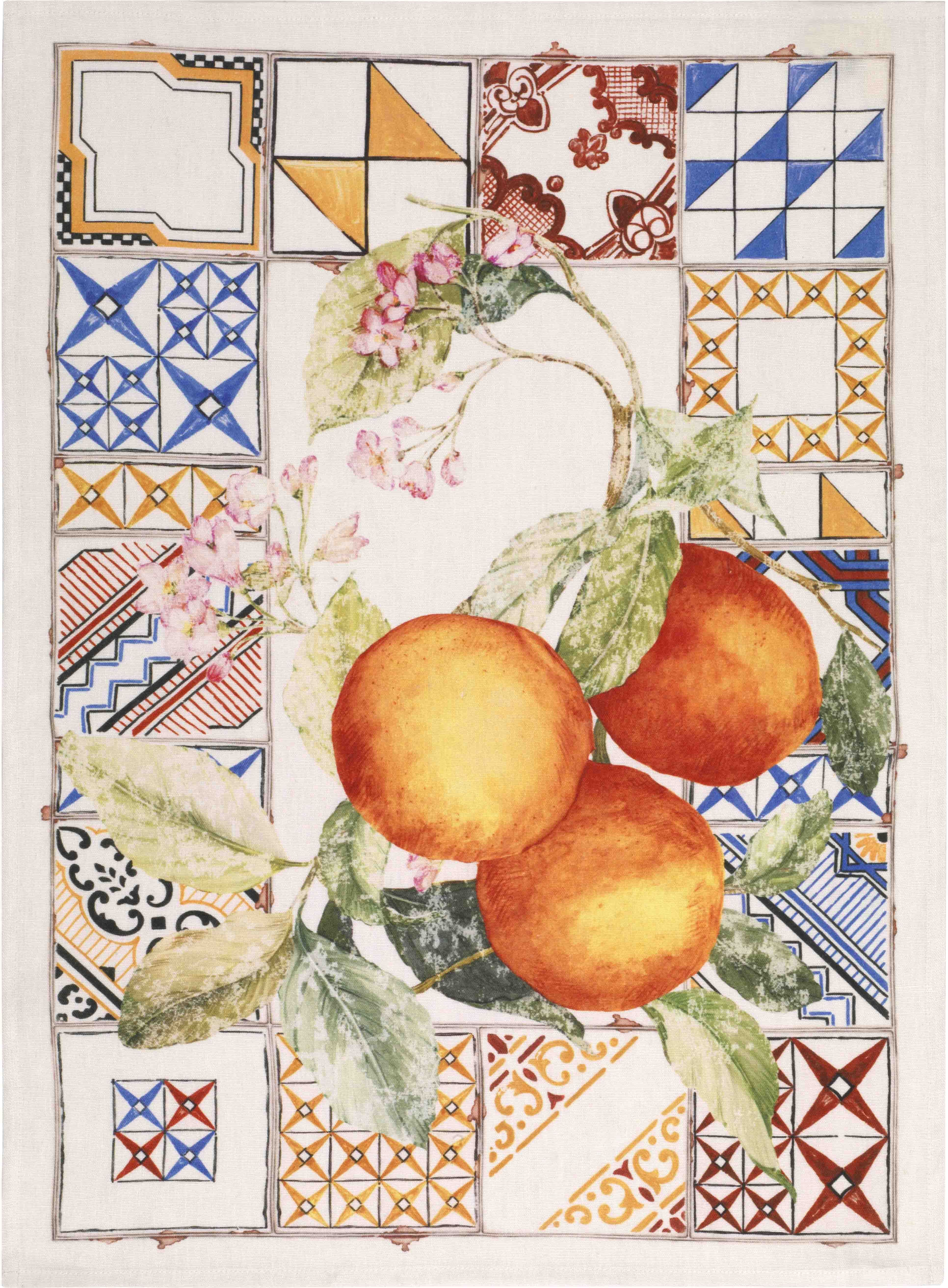 Tiles Oranges Linen Tea Towel 50x70cm