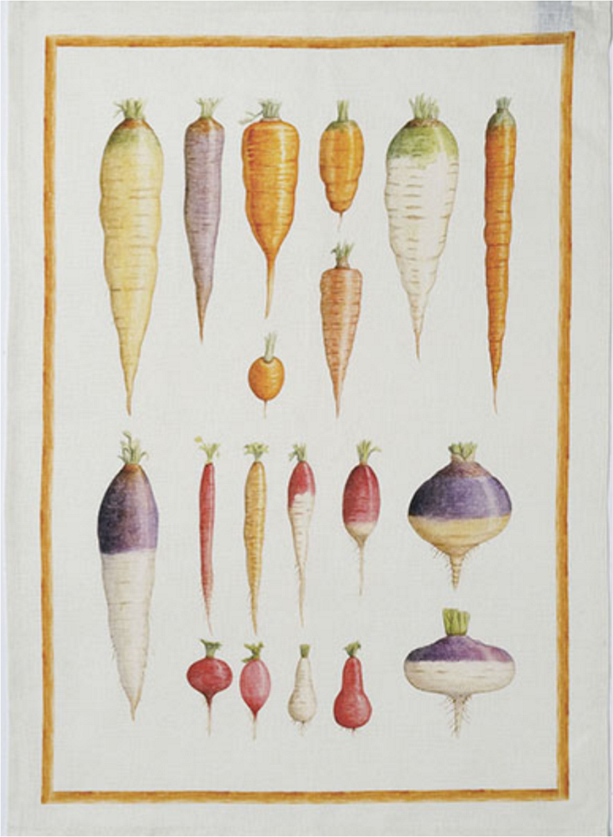 Vegan Carrots Linen Tea Towel 50x70cm